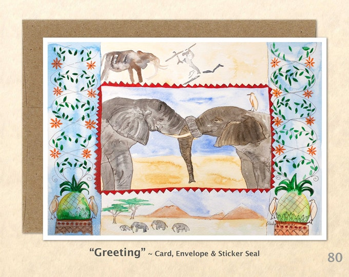 Elephant Friends Note Card, Elelphant Cards, Wildlife Card, Friendship Cards, Blank Note Card, Art Cards, Greeting Cards