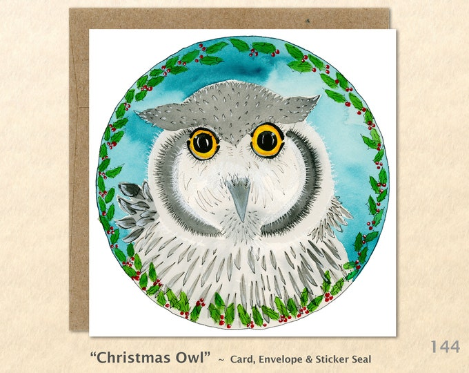 Owl and Holly Christmas Card Card Blank Note Card Art Card Greeting Card Watercolor Card Holiday Card