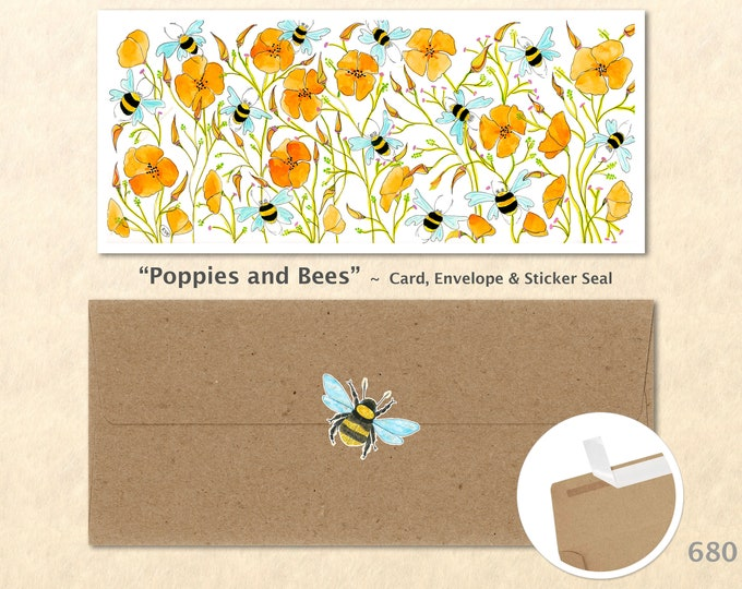 Poppies and Bees Card, Floral Cards, Flower Cards, Garden Cards, Gardening Cards, Flowers and Bees, Greeting Cards