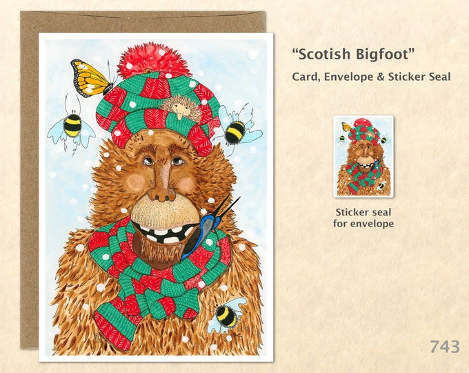 Scottish Bigfoot Card Christmas Bigfoot Blank Note Card Art Cards Greeting Cards