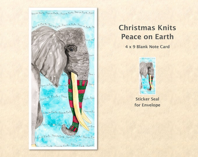 Christmas Card Elephant Peace on Earth Holiday Note Card Blank Watercolor Card Art Card Note Card