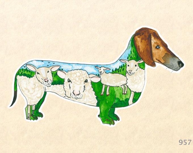 Dachshund Sheep Dog Sticker Doxen Sticker Water Bottle Sticker Shiny Sticker Scrapbooking Sticker Macbook Pro Touchpad Decal