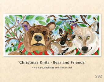 Bear and Friends Card, Christmas Cards, Xmas Cards, Blank Note Card, Art Cards, Greeting Cards