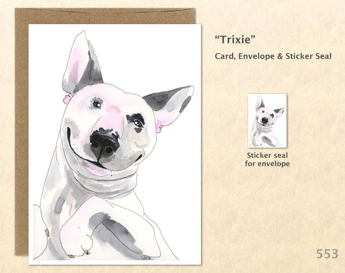 Mini Bull Terrier Dog Note Card, Dog Cards, Blank Note Card, Art Cards, Greeting Cards
