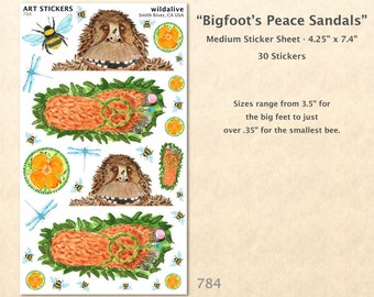 Bigfoot Stickers Peace stickers Poppy Stickers Bee Stickers Sandal Stickers Cute Bigfoot Funny Bigfoot Scrapbook Sticker Art Sticker