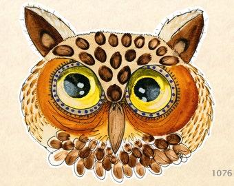 Owl Sticker Bird Sticker Water Color Art Sticker