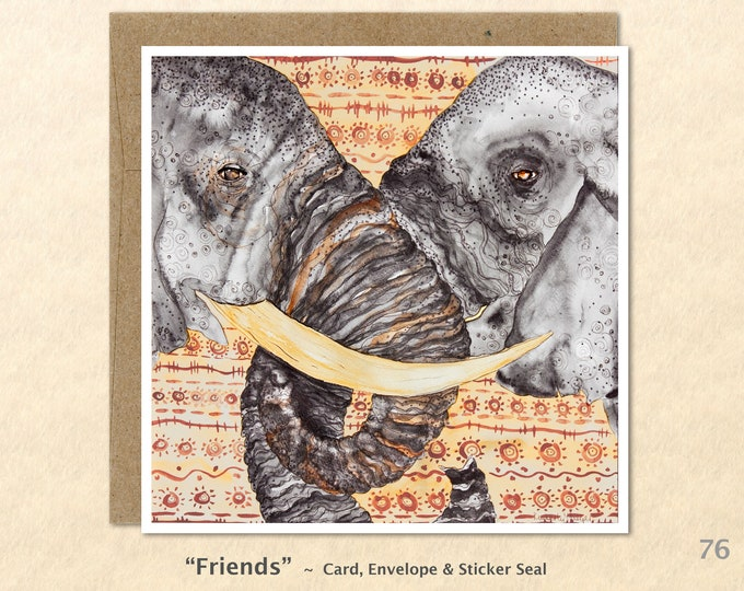 Elephant Friends Note Card, Friendship, Elephant Cards, Love, Blank Note Card, Art Cards, Greeting Cards