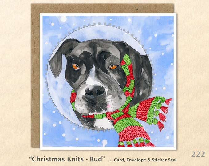 Dog in a Christmas Scarf Christmas Card Card Blank Note Card Art Card Greeting Card Watercolor Card Holiday Card
