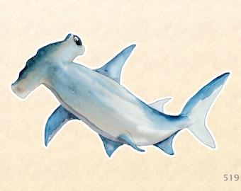Hammerhead Shark Sticker Sea Life Sticker Watercolor Art Animal Sticker Laptop Water Bottle Journal Diary Scrapbooking Sticker