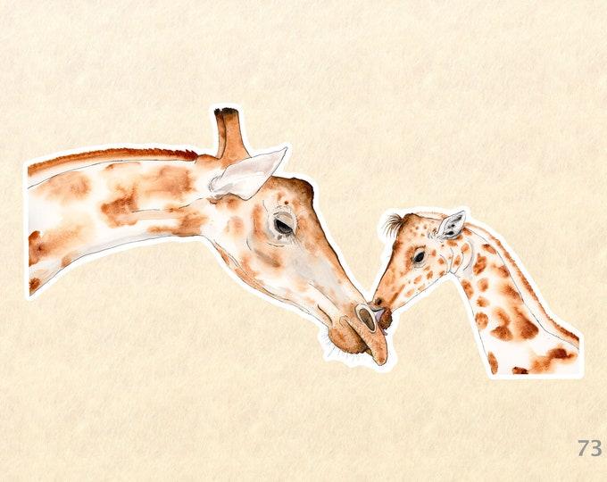 Giraffe Stickers, Baby Animal Stickers, Love Stickers, Family Stickers, Water Bottle Stickers, Scrapbooking Stickers, Macbook Decal