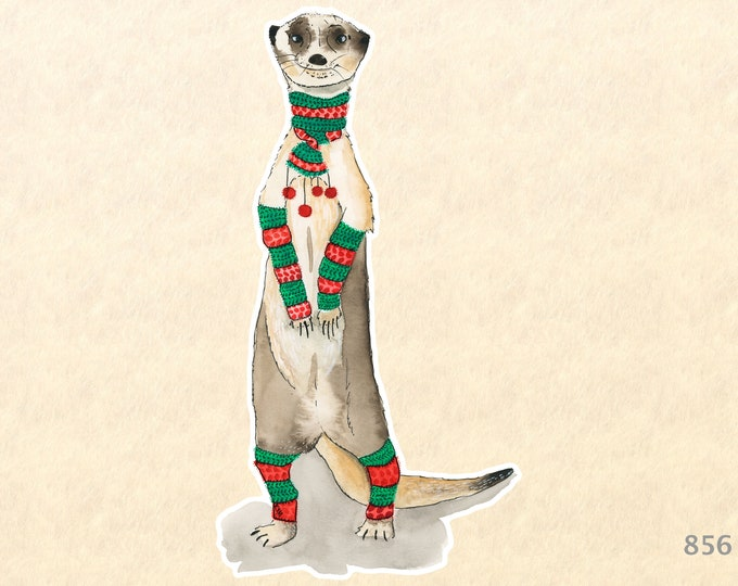 Meerkat Dressed for Christmas Sticker Decorative Gift Wrapping Sticker Laptop Stickers Scrapbook Stickers Watercolor Art Sticker
