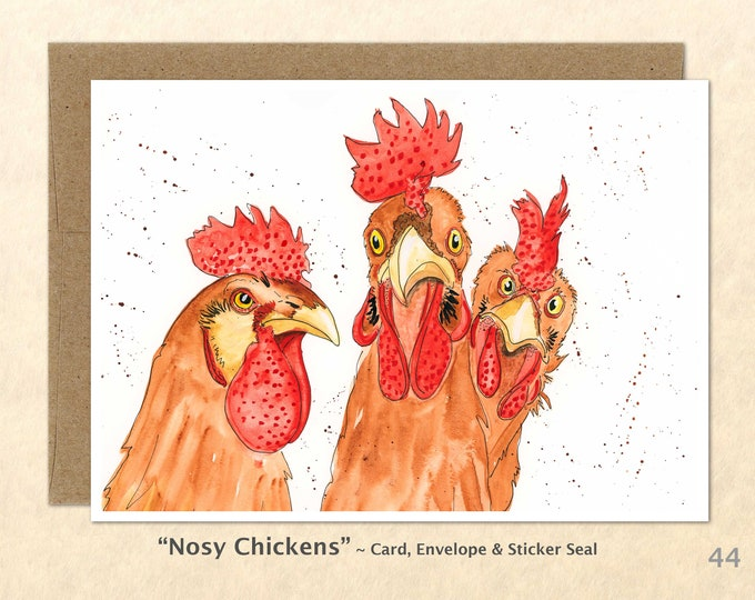Chickens Note Card, Chicken Cards, Farm Cards, Farm Yard Animals, Blank Note Card, Art Cards, Greeting Cards