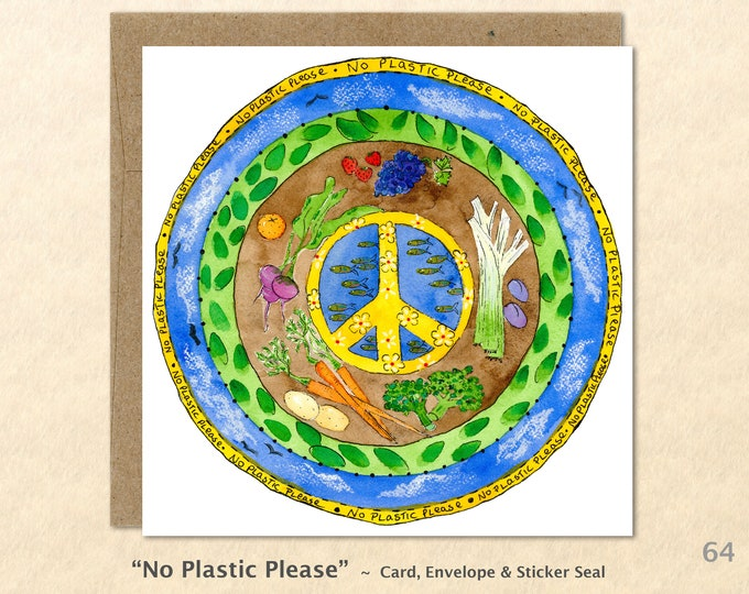 Peace Sign and Veggies Eco Note Card Blank Note Card Art Cards Greeting Cards Watercolor Card
