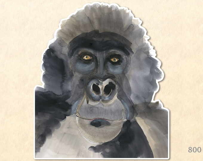 Silverback Gorilla Sticker Ape Sticker Wildlife Sticker Monkey Sticker African Animal Sticker Scrapbooking Sticker Macbook Decal