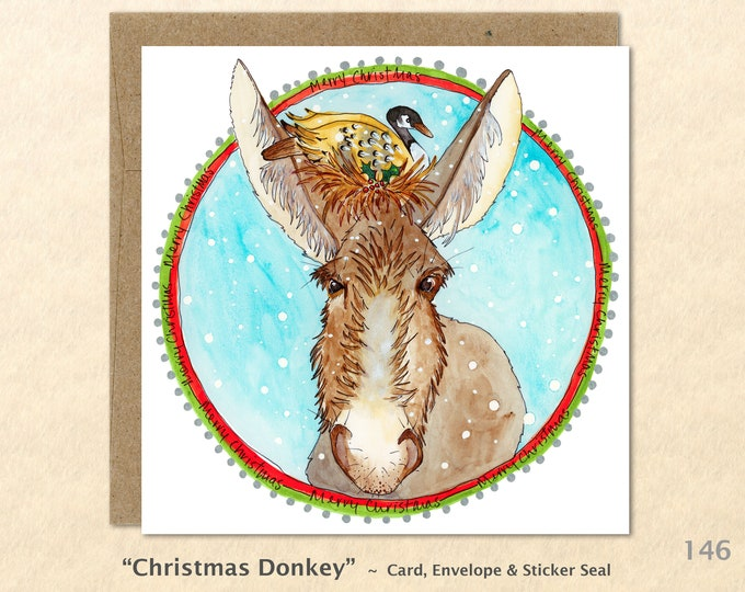 Donkey and Goose Christmas Card Card Blank Note Card Art Card Greeting Card Watercolor Card Holiday Card