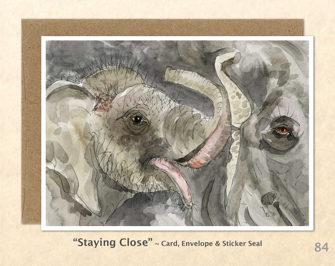 Elephant Mom and Calf Note Card, Elephant Cards, Elephant Baby Cards, Animal Baby Cards, Blank Note Card, Art Cards, Greeting Cards