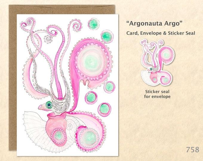 Octopus Note Card Argonauta Argo Biology Illustration Octopus Card Blank Note Card Art Cards Greeting Cards