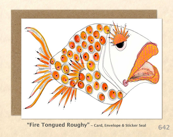 Wacky Fish Note Card, Fish Cards, Silly Fish Cards, Fun Cards, Blank Note Card, Art Cards, Greeting Cards