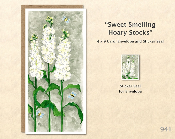 Hoary Stocks Flower and Bees Card Floral Card Customizable Flower Note Card Watercolor Art Greeting Card