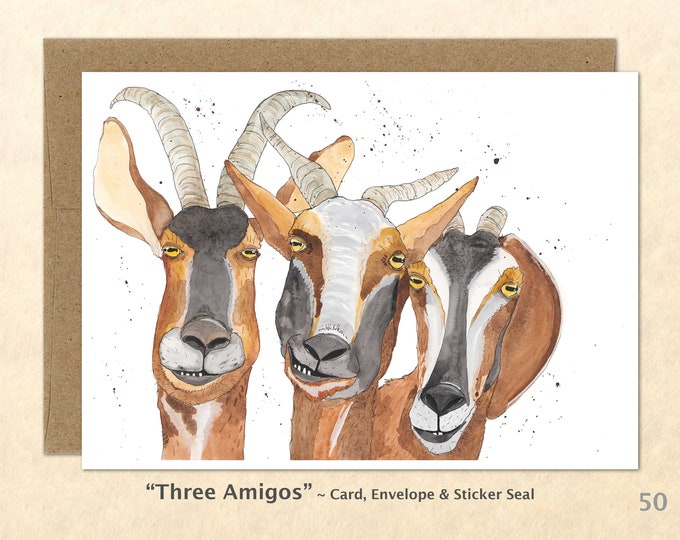 Three Goats Note Card, Goat Cards, Farm Cards, Farm Yard Animals, Blank Note Card, Art Cards, Greeting Cards