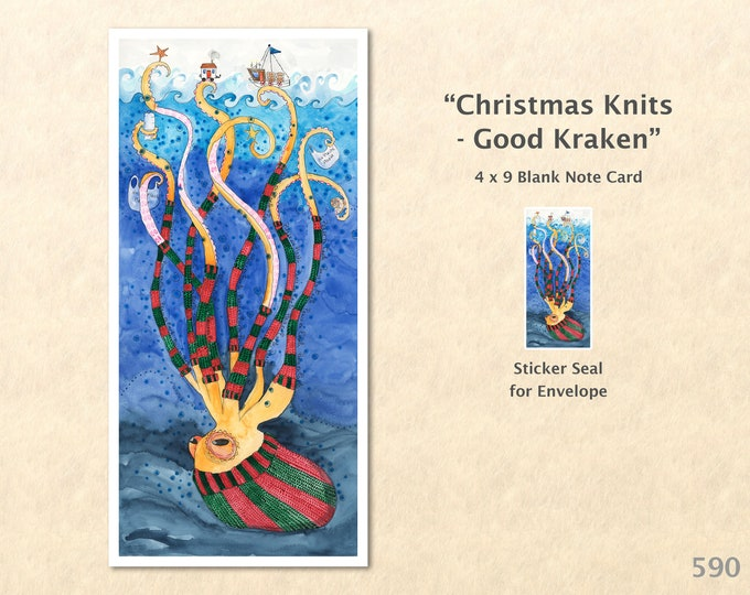 Sea Monster Octopus with Knitted Cap and Leg Warmers Note Card, Christmas Cards, Blank Note Card, Art Cards, Greeting Cards