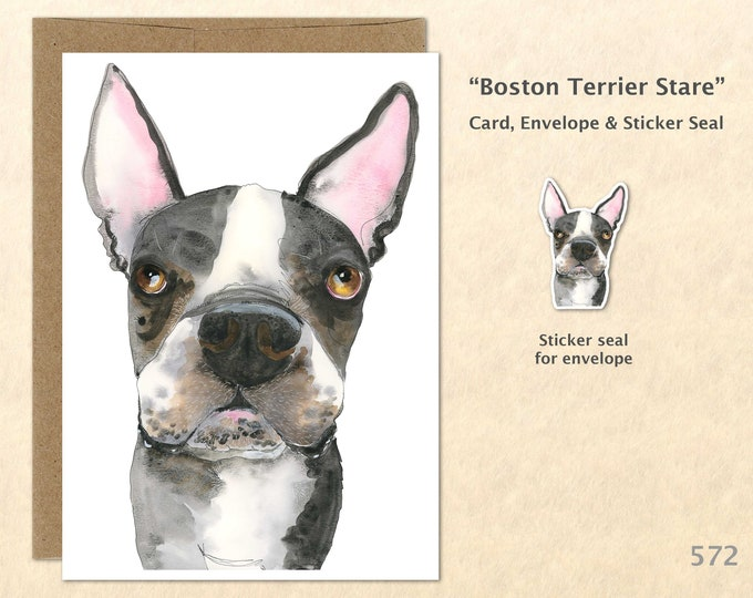 Boston Terrier Card Boston Terrier Stare Fun Dog Card Cute Dog Card Blank Note Card Art Cards Greeting Cards