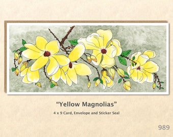 Yellow Magnolias Floral Greeting Card Flower Card Customizable Blank Note Card Watercolor Art Greeting Card
