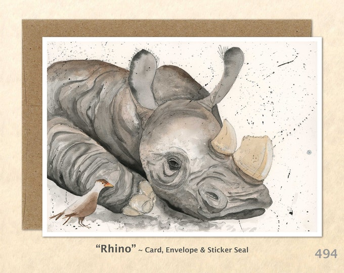 Rhino Note Card, Rhino Cards, Rhinoceros Cards, Wildlife Note Card, Blank Note Card, Art Cards, Greeting Cards