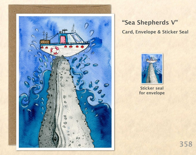 Whale and Boat Note Card, Whale Cards, Boat Cards, Blank Note Card, Art Cards, Greeting Cards