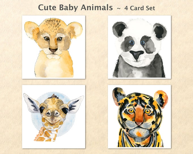 Baby Animals 4 Card Set Cute Baby Animals Baby Lion Baby Panda Baby Giraffe Baby Tiger Note Cards Blank Note Cards Art Cards Greeting Cards