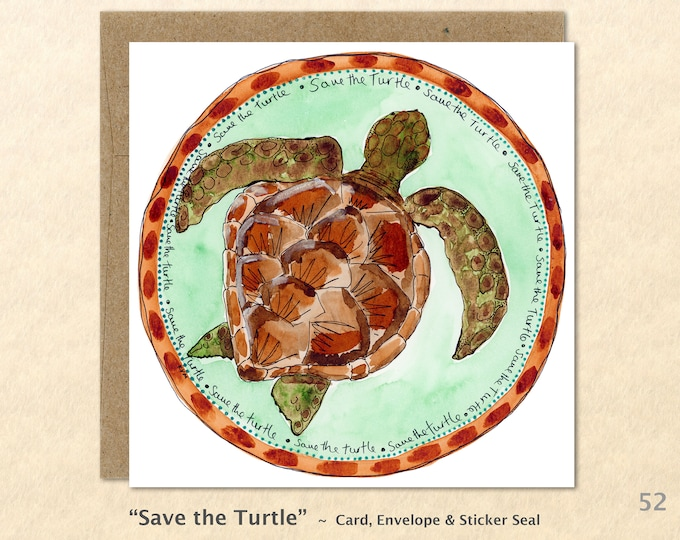 Turtle Blank Note Card Sea Turtle Card Eco Card Blank Note Card Art Cards Greeting Cards Watercolor Card