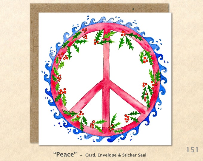 Peace Sign and Holly Christmas Card Card Blank Note Card Art Card Greeting Card Watercolor Card Holiday Card