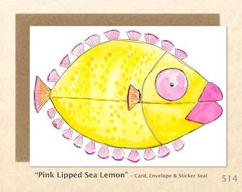 Wacky Fantasy Fish Note Card, Fish Cards, Silly Fish Cards, Fun Cards, Funny Animals, Blank Note Card, Art Cards, Greeting Cards