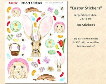 Easter Bunnies Sticker Sheet 48 Stickers Easter Watercolor Art Stickers Rabbit Stickers Bunny Stickers Cute Animal Stickers