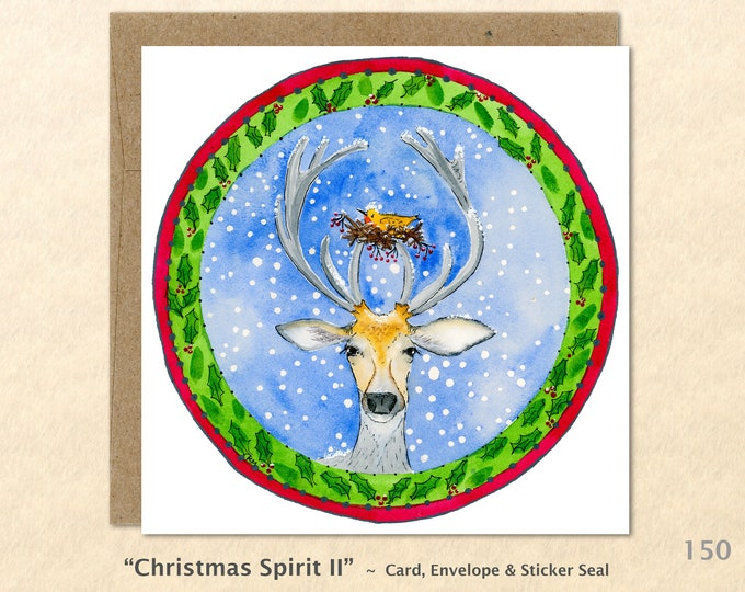 Reindeer and Birds Nest Christmas Card Card Blank Note Card Art Card Greeting Card Watercolor Card Holiday Card
