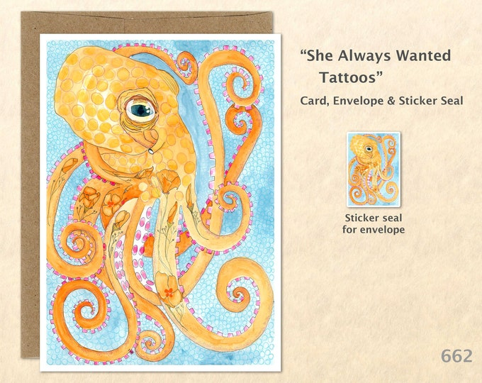 Tattooed Octopus Note Card, Octopus Cards, Tattoo Cards, Blank Note Card, Art Cards, Greeting Cards