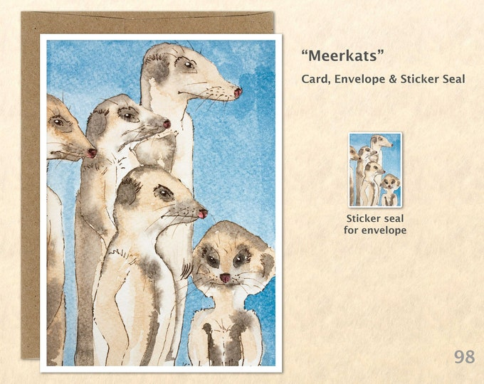 Meerkat Family Note Card, Cute Animal Blank Note Card, Art Cards, Greeting Cards