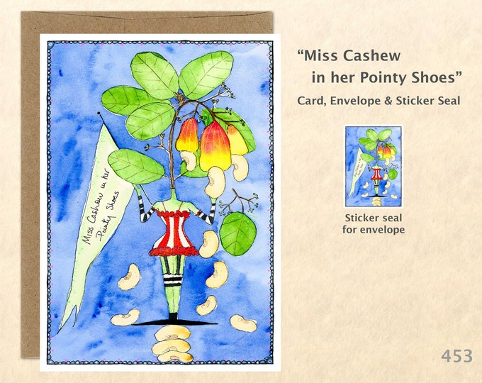 Miss Cashew Note Card, Food Cards, Garden Cards, Veggie Cards, Silly Cards, Fun Cards, Blank Note Card, Art Cards, Greeting Cards
