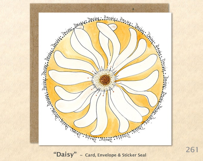 Daisy Note Card, Daisy, Floral Cards, Garden Cards, Purple Cards, Decorative Cards, Blank Note Cards, Art Cards, Greeting Cards