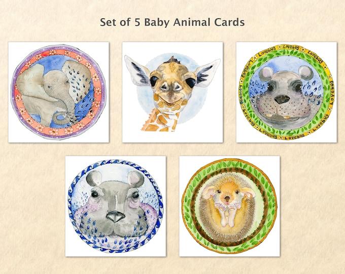 Baby Animal Cards, Cute Animal Babies, Fun Animals, Baby Elephant, Baby Hippo, Baby Hedgehog, Baby Giraffe, Blank Note Card, Art Cards