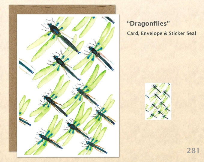 Dragonfly Note Card, Garden Cards, Gardening Cards, Bug Cards, Blank Note Card, Art Cards, Greeting Cards