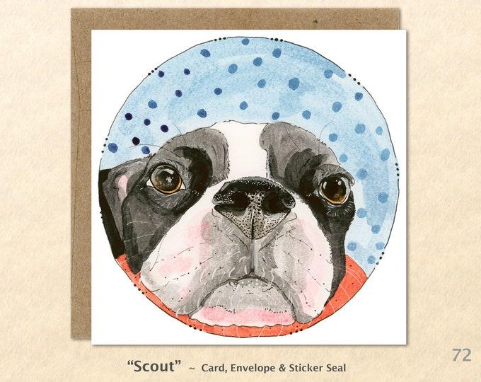 Dog Card Boston Terrier Card Cute Dog Card Blank Note Card Art Card Greeting Card Watercolor