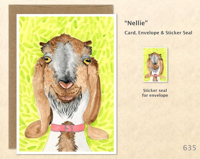 Goat Note Card Goat Card Goofy Goat Farm Card Farm Animal Card Blank Note Card Art Card Greeting Card Watercolor Art Card
