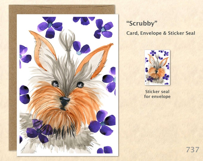 Dog and Flowers Note Card Yorkshire Terrier Card Cute Dog Fancy Dog Dog Card Fun Animal Blank Note Card Art Card Greeting Cards