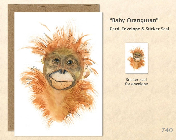Baby Orangutan Card Cute Baby Animals Baby Animal Cards Blank Note Card Art Cards Greeting Cards