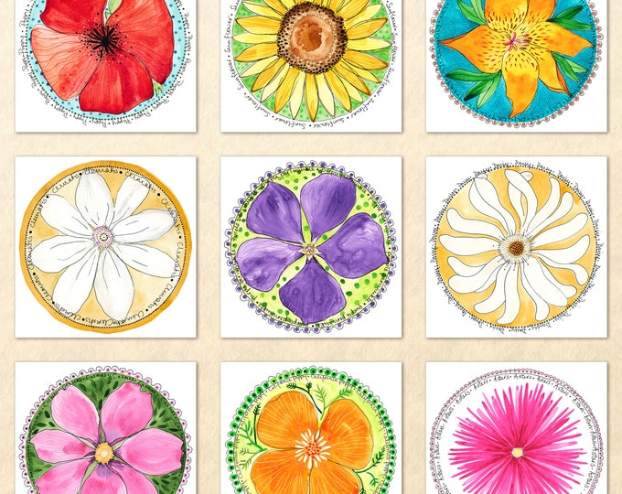 9 Floral Card Set, Flower Cards, Garden Cards, Gardening Cards, Poppy, Lily, Daisy, Sunflower,  Blank Note Card, Art Cards, Greeting Cards