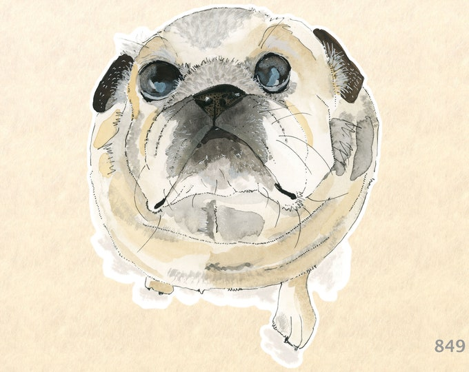 Pug Sticker Dog Sticker Laptop Stickers Water Bottle Scrapbook Stickers Macbook Decal Watercolor Art Sticker