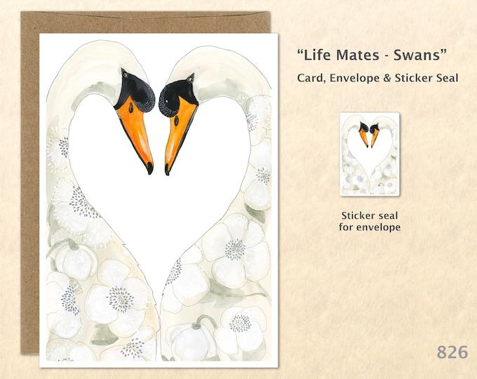 Swans Note Card Heart Card Love Card Bird Card Cute Animal Card Blank Note Card Art Card Greeting Card