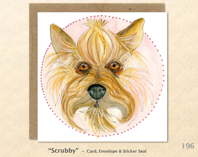 Yorkshire Terrier Note Card  Dog Note Card Dog Greeting Card Blank Note Card Art Card Greeting Card Watercolor Card