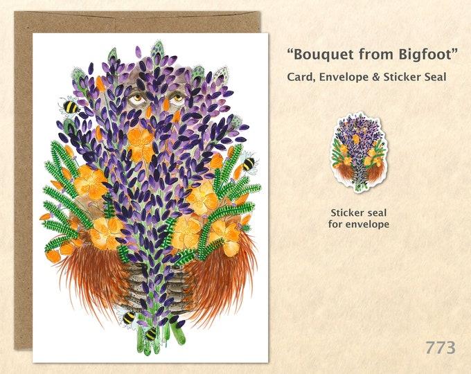Bigfoot Card Flower Card Lupine Card Poppy Card Flower Card Floral Card Flower Bouquet Friendship Card Blank Card Art Card Greeting Card